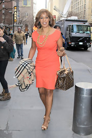Gayle King stepped out on the streets of NY in style when she sported this peach frock.