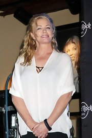 Shannon Tweed had her waves tied half-up for a night out with Gene Simmons.