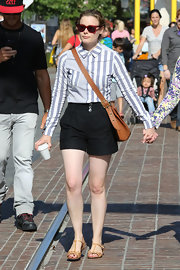 Gillian Jacobs wore a pair of charcoal high-wasted shorts while out in LA.