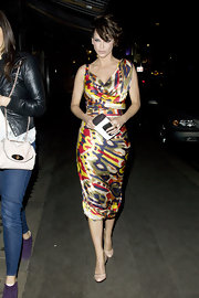 Sarah looked vibrant in a colorful abstract print silk cocktail dress while out in London.