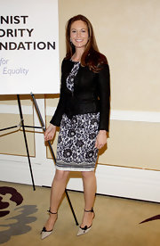 Diane Lane stepped out to a Feminist Majority Foundation event wearing a pair of ivory and black heels with delicate ankle straps.