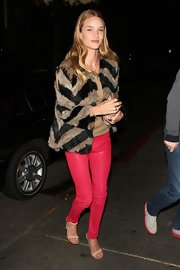 Hot pink pants made bold statement against Rosie's other tonal pieces.