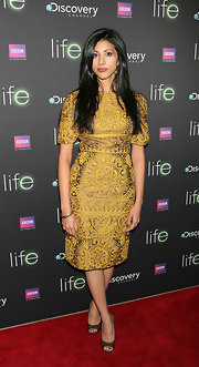 Reshma Shetty wore a sophisticated printed yellow dress to the screening of 'Life.'