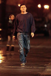Leonardo DiCaprio was dressed down in washed-out jeans and a baggy sweater for his new film 'Wolf of Wall Street.'