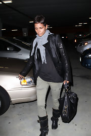 Actress Halle Berry wore a Fringe Scarf in Heather Grey while out shopping.