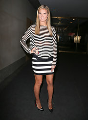 Heidi paired stripes on stripes with this sheer, flowing blouse and a fitted skirt.