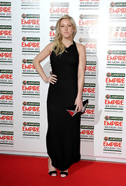 Ellie Goulding chose a classic, black column-style gown for her red carpet look at the Empire Film Awards.