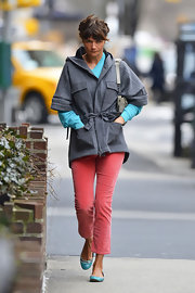 Helena Christensen bundled up in this structured wool coat with four front pockets.