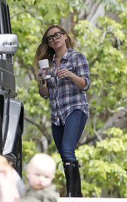 Hilary Duff sported a plaid button down while out with her son Luca in LA.