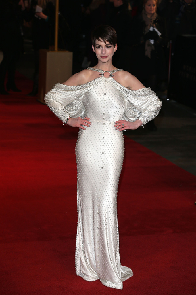 "Anne Hathaway on the red carpet for the ""Les Miserables"" World premiere at Odeon Leicester Square in London."