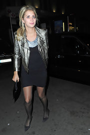 Holly Branson wore a pair of kitten-heeled pumps for a night out.