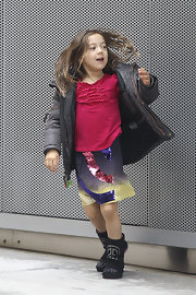 Ava Jackman showed some early signs of a vibrant fashion sense with this colorful sequined skirt.