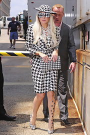 Lady Gaga paired her houndstooth ensemble with—what else—a pair of houndstooth pumps.