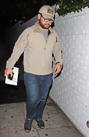 Keeping it casual, Jack Osbourne left his denim and zip-up combo laid-back with canvas slip-on sneaks.