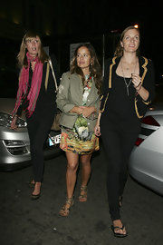 Jade Jagger was strutting her stuff in true Roman style in these embellished gladiator sandals.