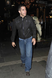 Jake showed off a cool leather jacket, which he paired with classic jeans.