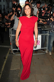 Davina McCall went for modern elegance with this bright red evening dress at the Glamour Women of the Year Awards.