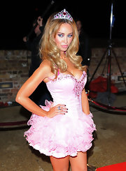 Lauren looked as pretty as a princess in this pink corset dress with a tutu skirt.