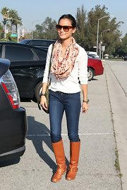 Jamie Chung chose a patterned tribal scarf to add some color and texture to her daytime look.