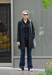 Jane Lynch opted for classic flare jeans for her look while out and about in NYC.