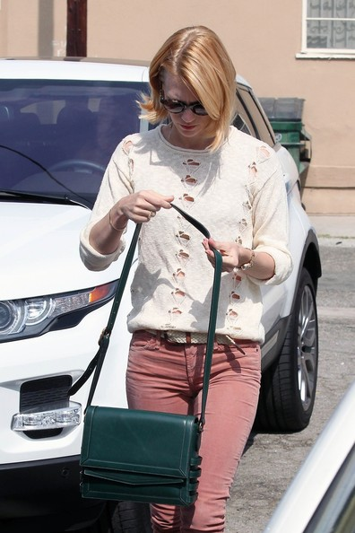 January Jones Leather Messenger Bag []