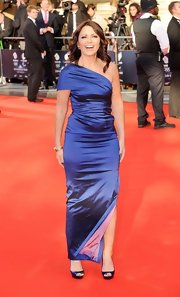 Davina McCall looked quite the diva in a sophisticated blue one-shoulder dress at the British Olympic Team GB gala.