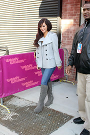 Jenni Farley was winter wonderful in a darling gray peacoat outside the 'Wendy Williams' show.