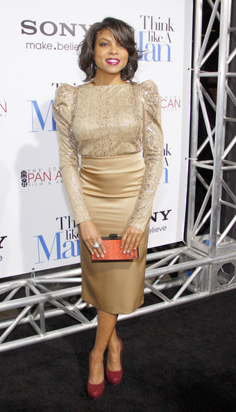 Taraji P. Henson attended the premiere of 'Think Like a Man' wearing a pave diamond sculpted cable ring in sterling silver.