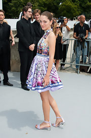Sofia chose a brightly colored patterned dress for the Dior Haute Couture show in Paris.
