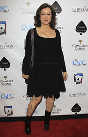 Jennifer Tilly donned black leather ankle boots to The World Poker Tour Celebrity Invitational.