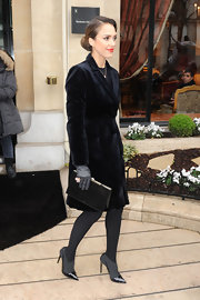 Jessica Alba was the epitome of class at the Christian Dior Couture show wearing this long velvet blazer coat.
