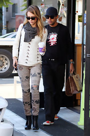 Jessica loves funky print pants like this pair she wore out in LA.