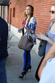 Jessica Alba completed her look with edgy mesh booties.