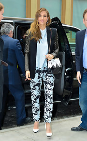 Jessica Alba opted for black and blue floral pants for a super feminine and fun look while out in NYC.