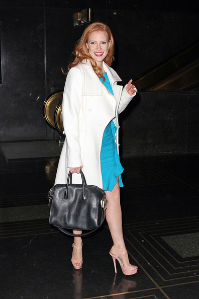 Jessica Chastain Leather Shoulder Bag []
