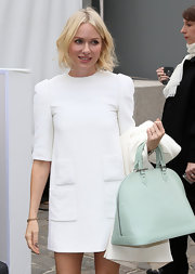 Naomi Watts looked pretty in pastels at Paris Fashion Week where she toted this oversized leather bag in a fun 'Tiffany' blue.