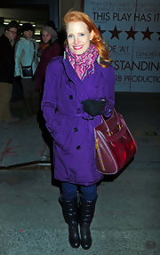 Jessica Chastain bundled up in a pink patterned scarf.