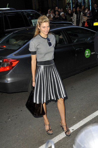 Jessica Hart Arrives at the Calvin Klein Show