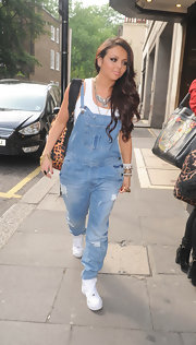 Jesy Nelson stepped out sporting the denim overalls trend while in London.