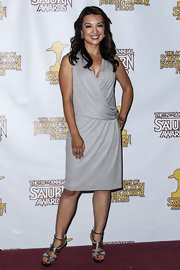 Ming-Na Wen chose a draped gray dress for her red carpet look.