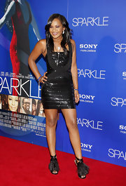 Bobbi Kristina stepped up her sparkly bandage dress with feathery pumps that wowed the crowd.