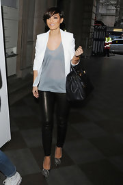 Frankie Sandford added sizzle to her Fashion Week look with a pair of tight leather pants.