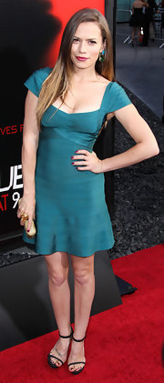 Bethany Joy Lenz rocked a teal capped-sleeve bandage dress at the season 6 premiere of 'True Blood.'