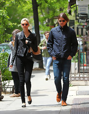 Tamsin Egerton wore a leather jacket while out with Josh Hartnett for a lunch date.