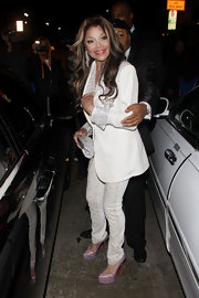 These glitter platform pumps were the perfect pop of shine and color on La Toya Jackson.