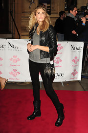 Tamsin Egerton wore a quilted leather jacket at the Prince's Trust Rock Gala 2011.