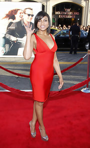 Taraji P. Henson added shine to her sexy red carpet look with a pair of metallic silver peep-toes.
