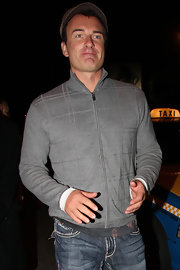 Julian McMahon stepped out for the night looking relaxed in a gray zip-up jacket and jeans.