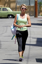 Julianne Hough chose a lime green tank for her workout look.