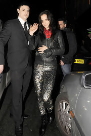 Juliette made a statement in London with sequin-saturated sparkling pants.
